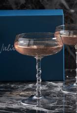 "Juliska Box set/2 Champagne Coupes  Amalia Clear 5"" H"