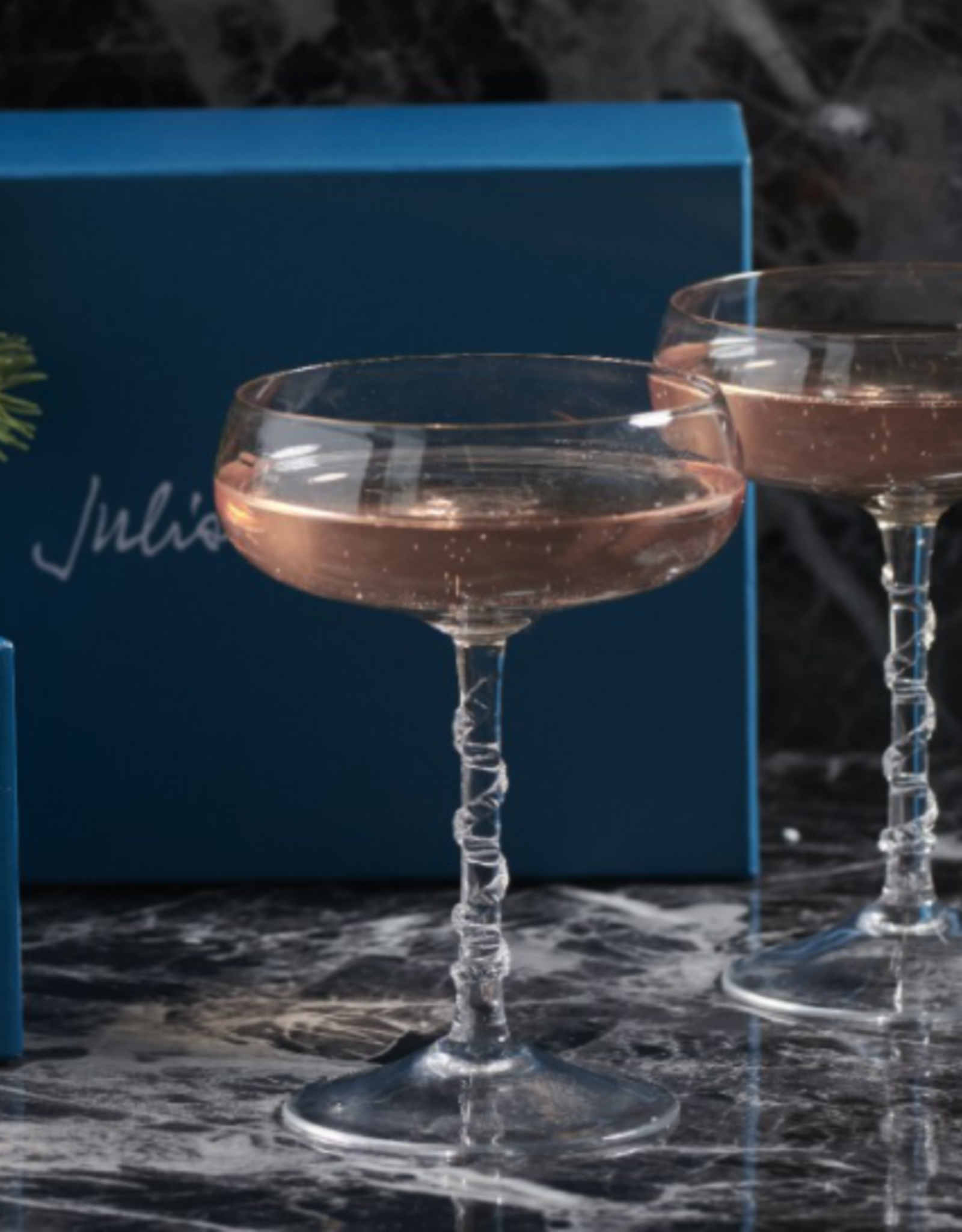 "Juliska Boxed  Set of 2 Champagne Coupes  Amalia Clear 5"" H"