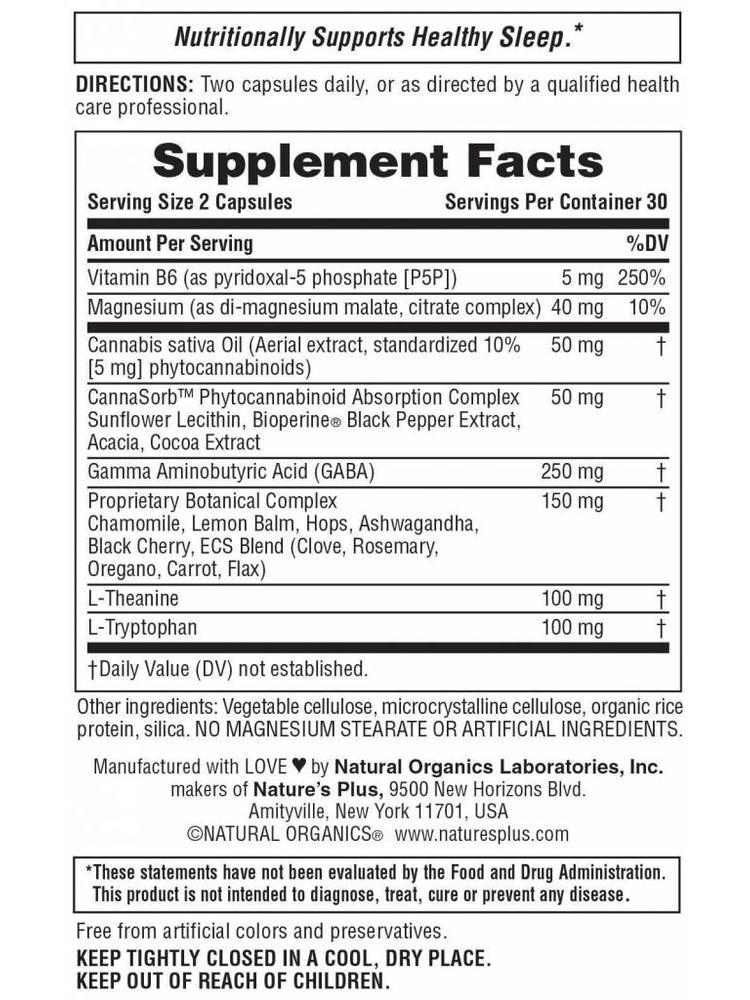 NATURE'S PLUS Nature's Plus Hempceutix Capsules, Sleep, 60vc