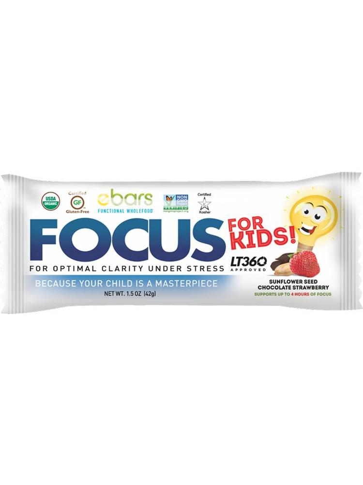ebars FOCUS for KIDS Nut Free Bar, Choc Strawberry, Organic, 1.5oz.