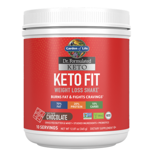 Garden of Life GoL Dr. Formulated Keto Fit Shake, Chocolate, 10-ct