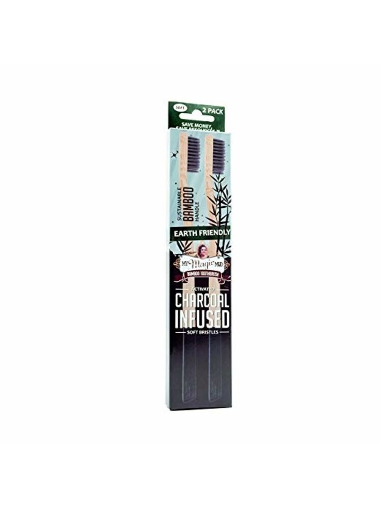 My Magic Mud My Magic Mud Activated Charcoal Infused Bamboo Toothbrush, 2-Pk