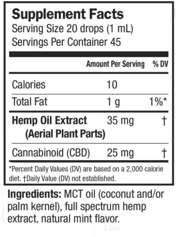 BARLEANS Barlean's Ideal CBD Extra Strength Mint 1.5oz