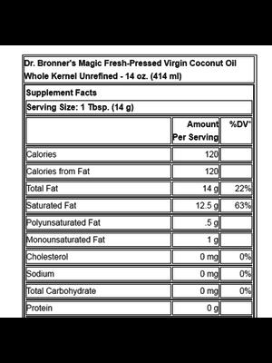 Dr. Bronner's Dr. Bronner's Coconut Oil Whole Kernel, Organic, 14oz.