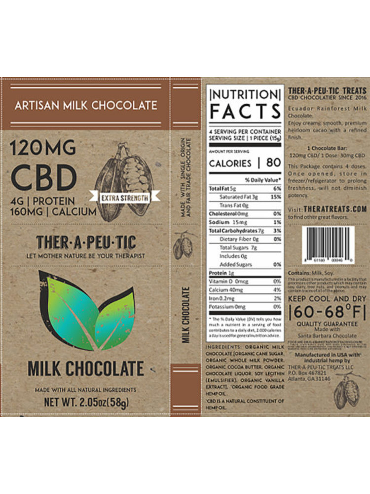 THERAPEUTIC TREATS Therapeutic Treats Milk Chocolate, 120mg, 2.05oz.
