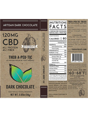 THERAPEUTIC TREATS Therapeutic Treats Dark Chocolate, 120mg, 2oz.