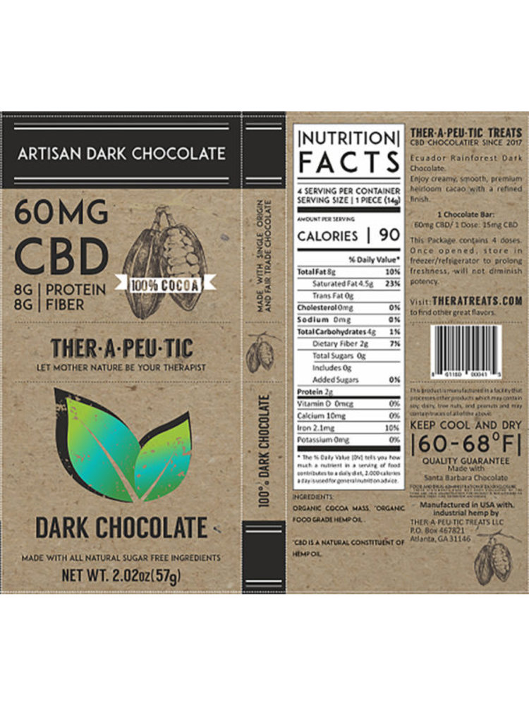 THERAPEUTIC TREATS Therapeutic Treats Dark Chocolate, 60mg, 2.02oz.
