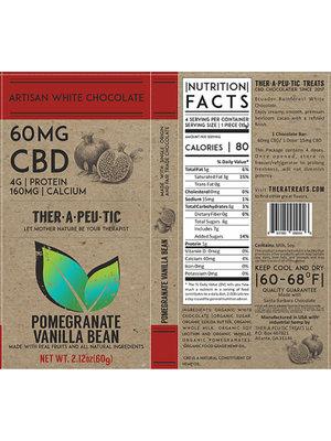THERAPEUTIC TREATS Therapeutic Treats Pom Vanilla Bean White Chocolate, 60mg, 2.12oz. - DISCO