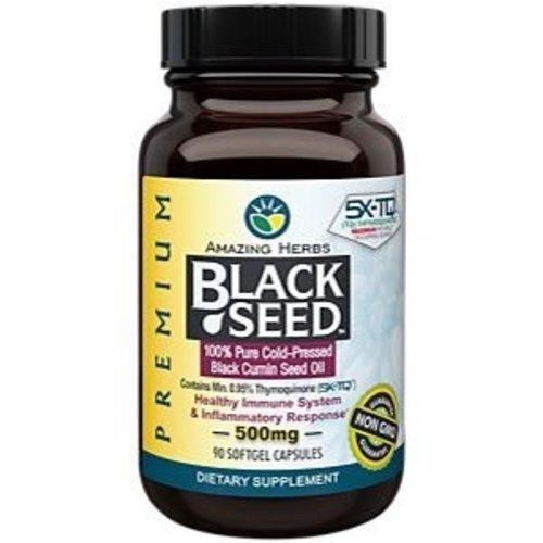 AMAZING HERBS Amazing Herbs Premium Black Seed Oil 500mg, 90sg