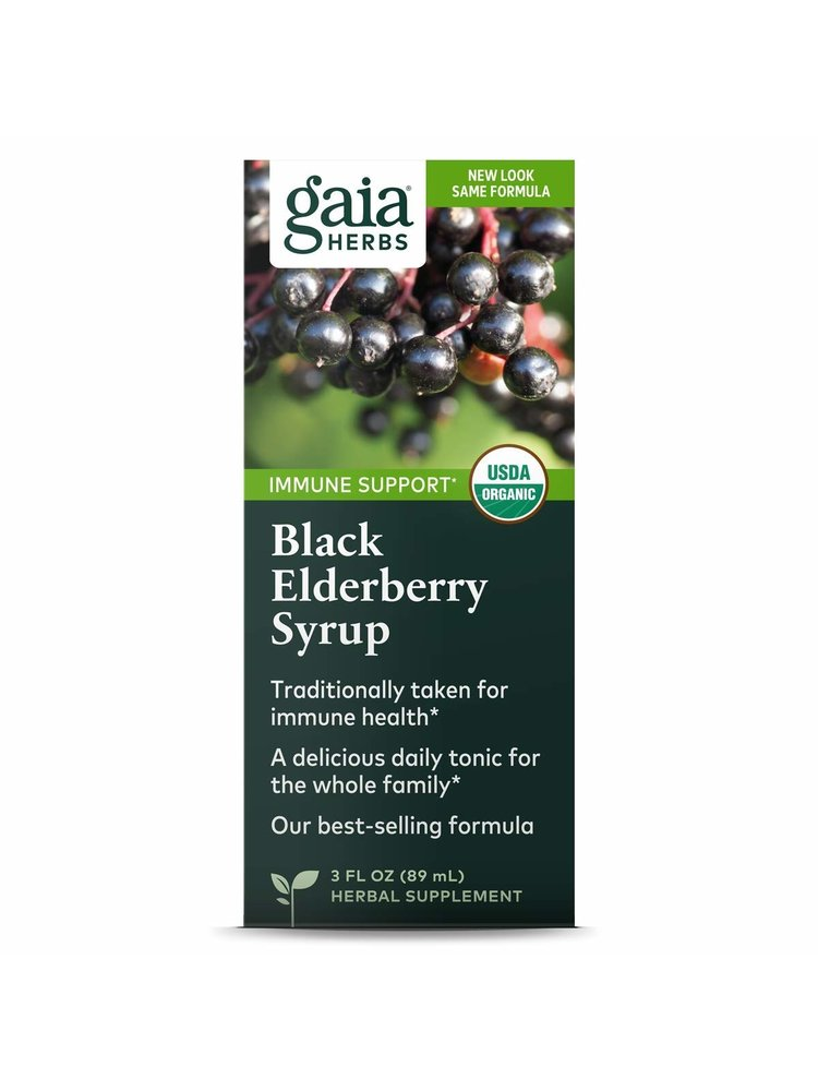GAIA HERBS Gaia Black Elderberry Syrup, 3oz.