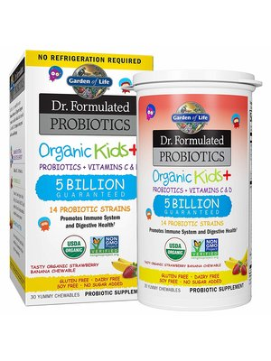 Garden of Life GoL Dr. Formulated Probiotics Organic Kids, Straw/Ban, SS, 30ch