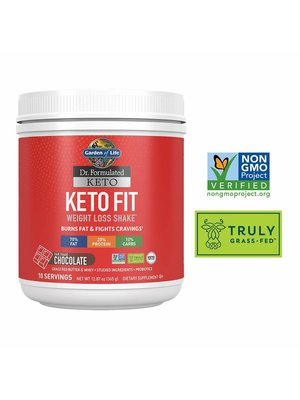 Garden of Life GoL Dr. Formulated Keto Fit Shake, Chocolate, 12.87oz.