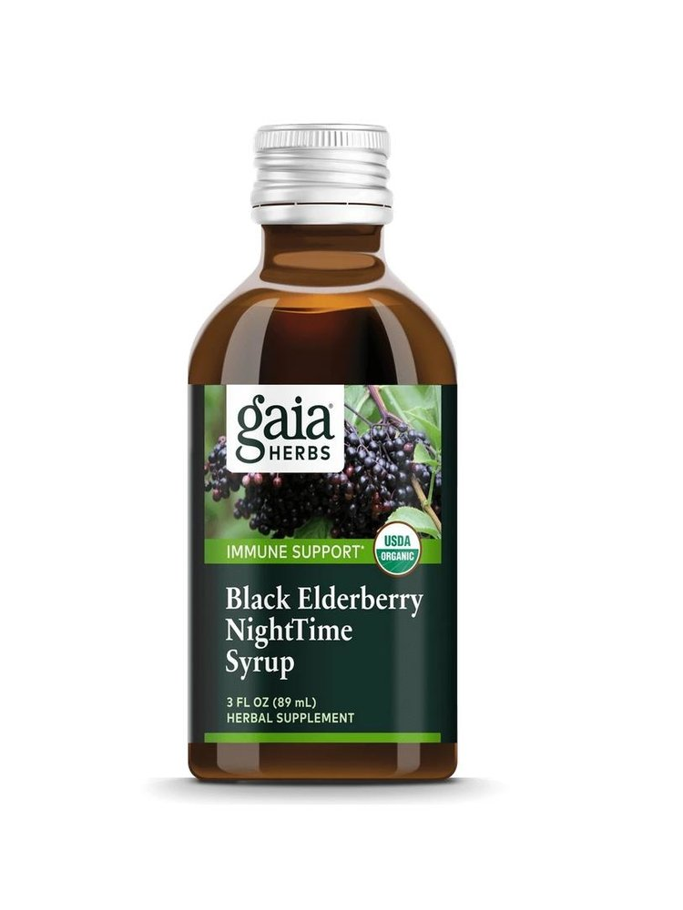 Gaia Black Elderberry Night Time Syrup, 3oz.