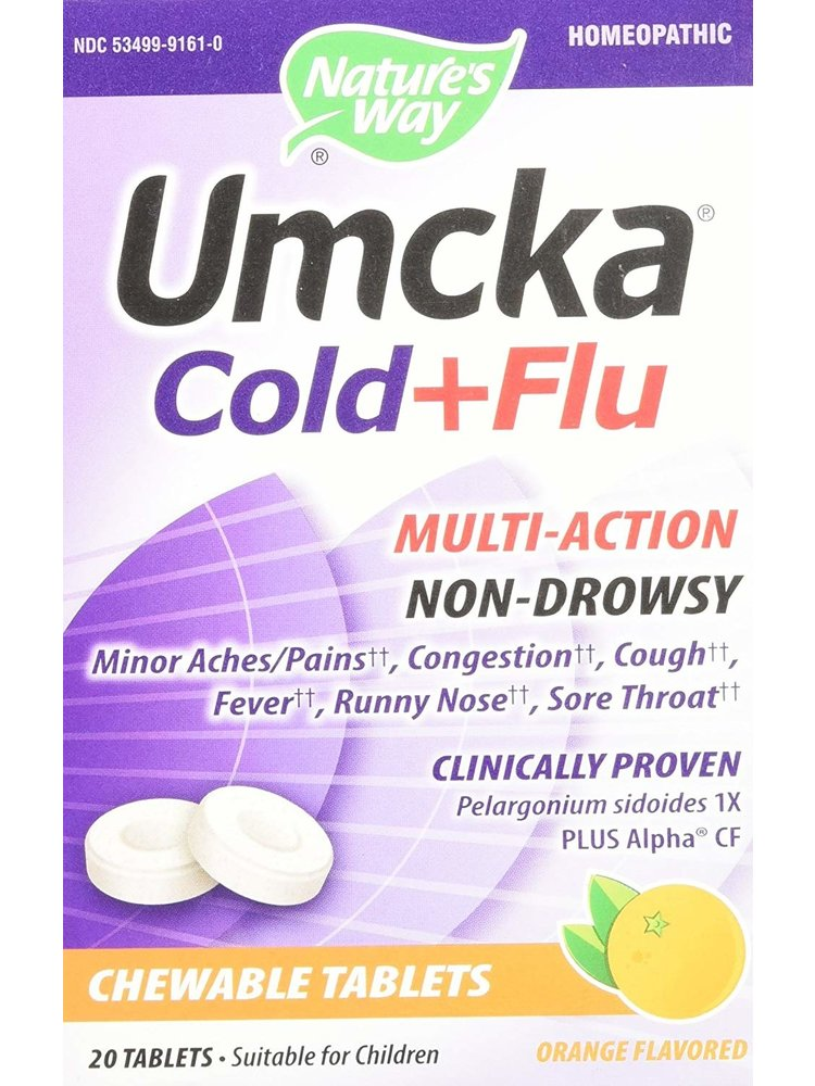 Nature's Way Umcka Cold + Flu Chewables, 20t