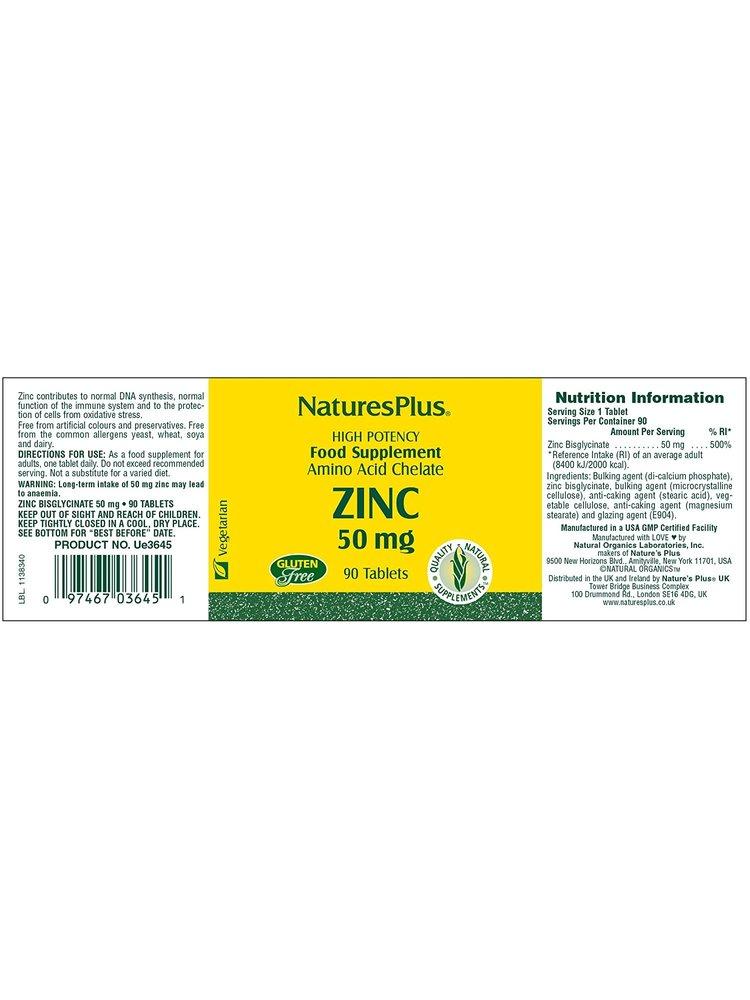NATURE'S PLUS Nature's Plus Zinc 50mg, 90t