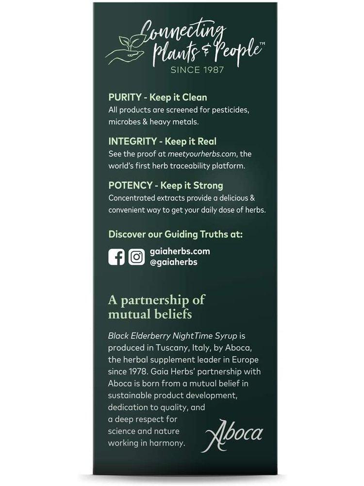 GAIA HERBS Gaia Black Elderberry Night Time Syrup, 5.4oz.