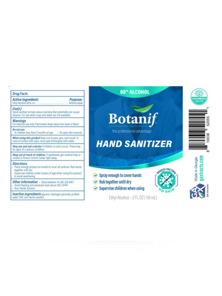 GA Xtracts BotanIf Medical Grade Hand Sanitizer, 80% Alcohol, 2oz.