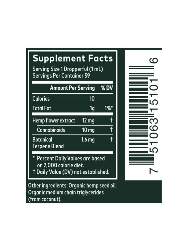 GAIA HERBS Gaia Hemp Full Spectrum Extract 10mg, 2oz.