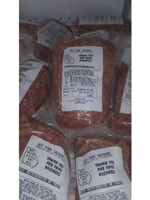 WAUKA MEADOWS FARM Wauka Meadows Organic Hot Sausage, 1lb.