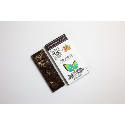 THERAPEUTIC TREATS Therapeutic Treats THC Free Coconut Almond Dark Chocolate, 120mg, 2oz.