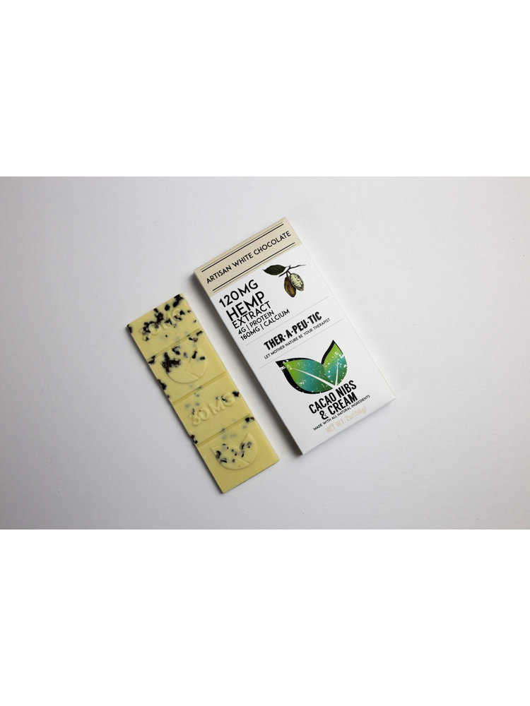 THERAPEUTIC TREATS Therapeutic Treats Cacao Nibs & Cream White Chocolate THC Free, 120mg, 2oz.