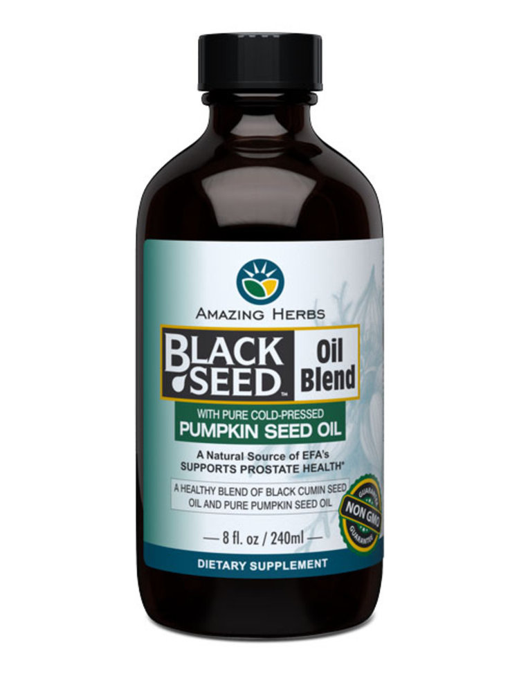 AMAZING HERBS Amazing Herbs Black Seed Oil Blend w/Pumpkin Seed Oil, 8oz.