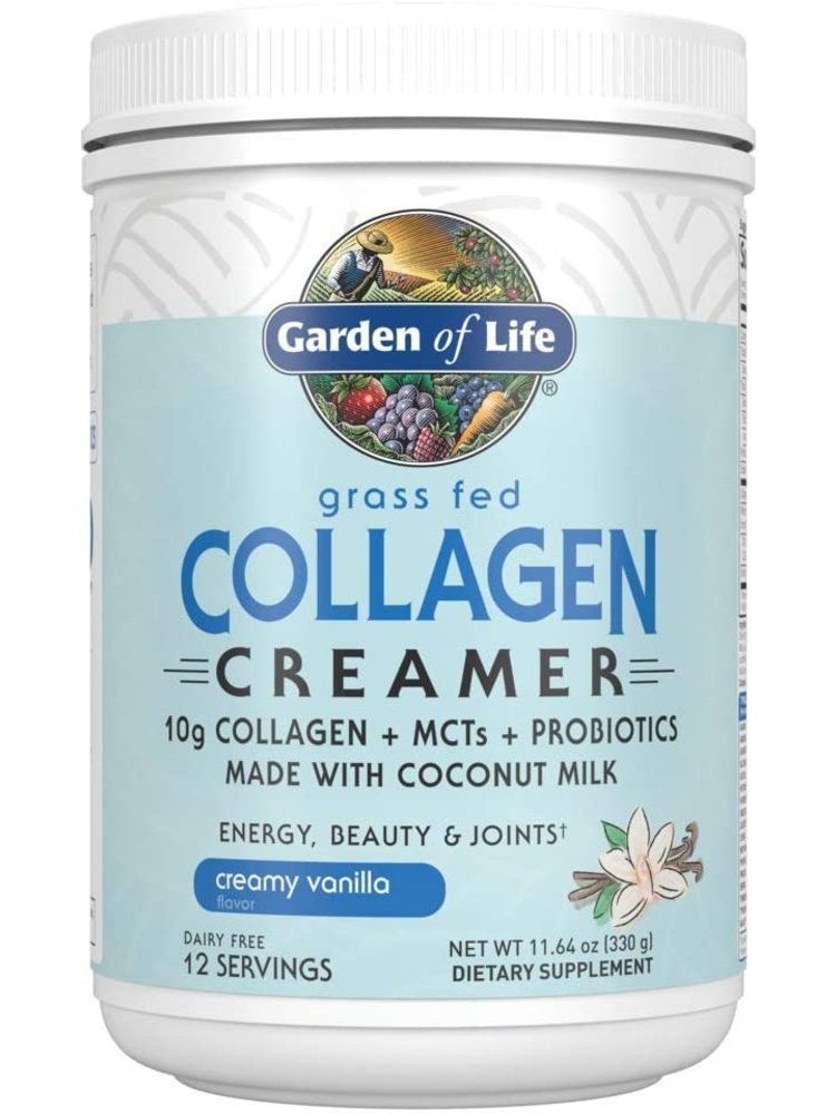 Garden of Life GoL Grass Fed Collagen Creamer, Vanilla, 11.64oz.