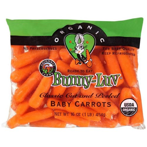Fresh Point Organics Bunny-Luv Baby Carrots, Organic, 16oz.