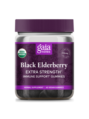 GAIA HERBS Gaia Black Elderberry Extra Strength Gummies, 40ct