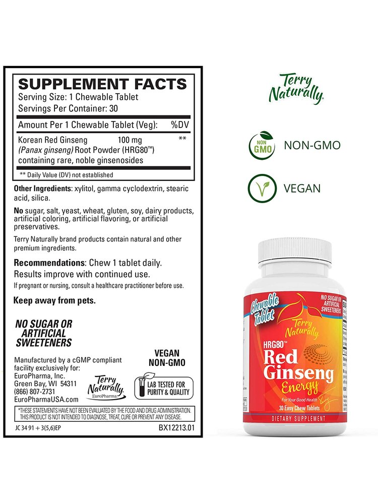 TERRY NATURALLY Terry Naturally Red Ginseng Energy Chewables, 30ch