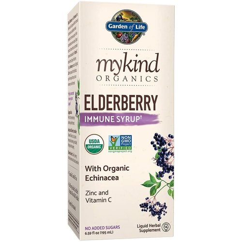 Garden of Life GoL myKIND Organics Herbal Elderberry Syrup, Organic, 6.59oz.