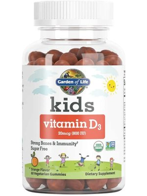 Garden of Life GoL Kids Organic Vitamin D3 Orange Gummies, 60ct