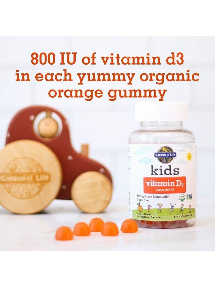 Garden of Life GoL Kids Organic Vitamin D3 Orange Gummies, 60ct