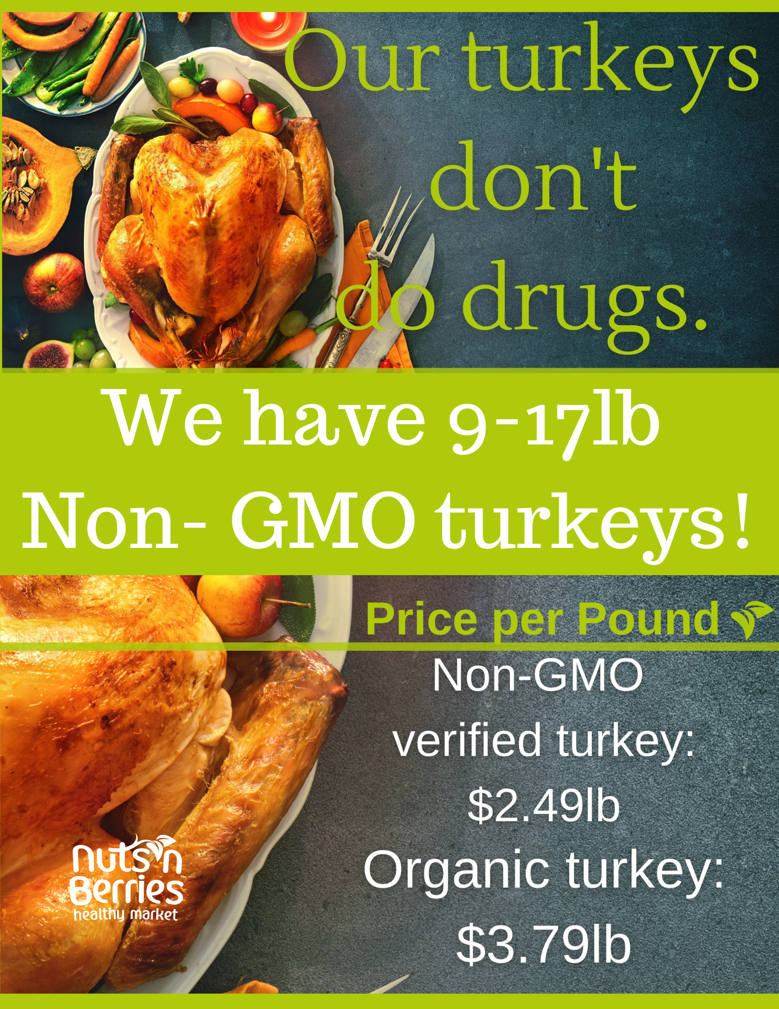 Page that tells customers about our turkeys for sale, how much they cost, and how to order them.