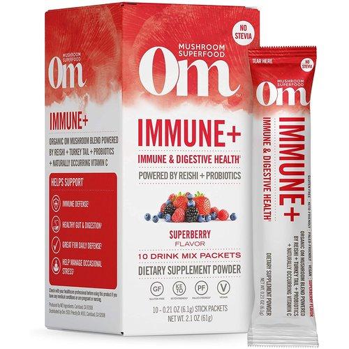 OM Mushroom Om Mushroom Drink Mix, Immune+ Mushroom Superfood, 10ct
