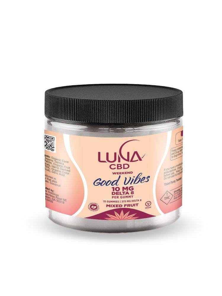 LUNA CBD Luna Weekend GOOD VIBES D8 Gummies, 10mg, 15ct