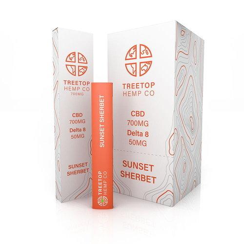 Treetop Hemp Treetop Hemp, D8 +CBD Disposable Vape, Sunset Sherbert, 1 gram, 700mg CBD:50mg D8