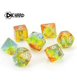 Die Hard Dice Poly RPG Dice Set: Translucent Sunshine Gradient