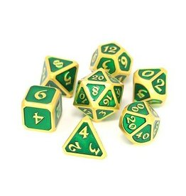 Die Hard Dice 7PC RPG METAL DICE - SATIN GOLD EMERALD MYTHICA