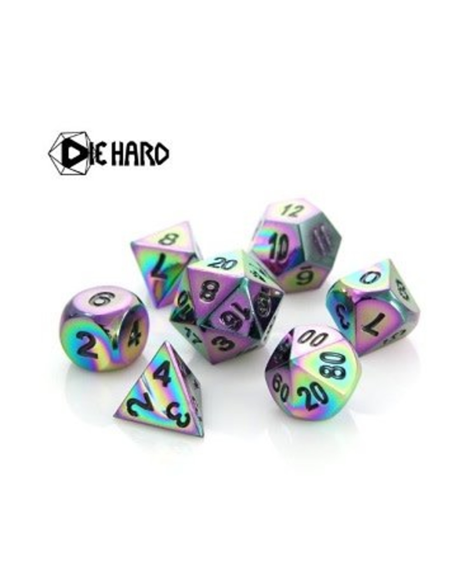 Die Hard Dice 7PC RPG METAL DICE - SCORCHED RAINBOW - BLACK