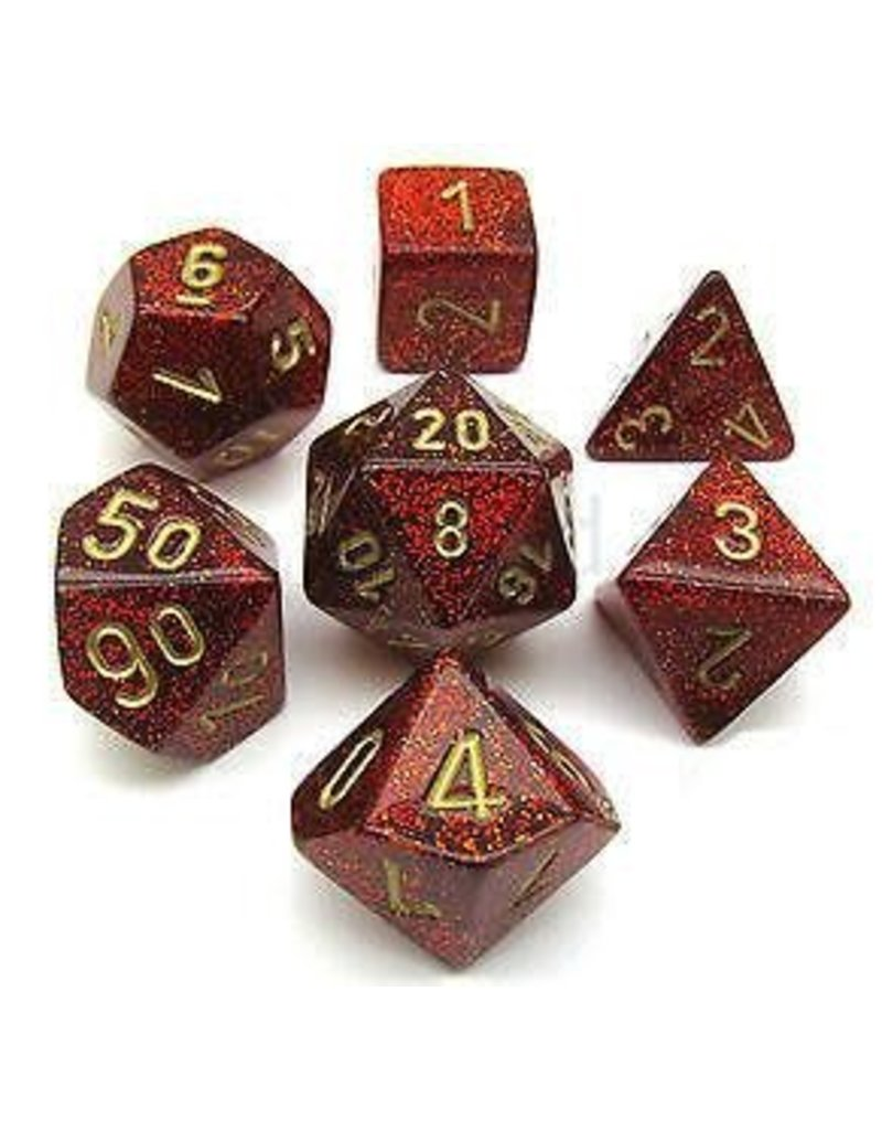Chessex 7pc RPG Dice Glitter Ruby/Gold