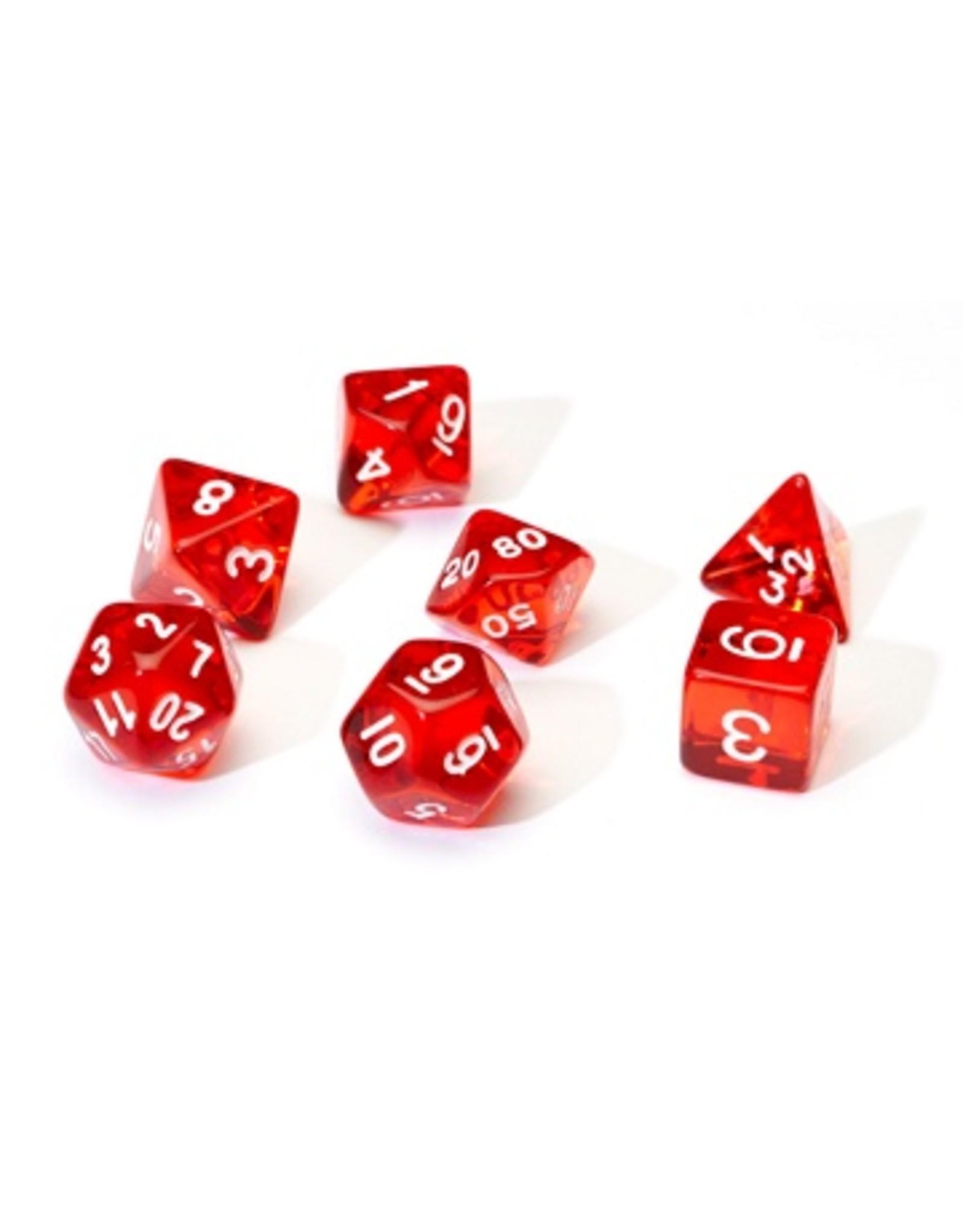 Sirius Dice 7PC RPG DICE - TRANSLUSCENT RED
