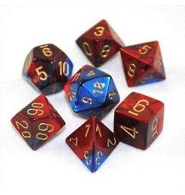 Chessex Gemini: 7pc 16mm Blue-Red/Gold