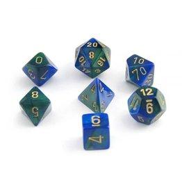 Chessex Gemini: 7pc 16mm Blue-Green/Gold