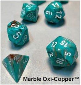 Chessex MARBLE 7-DIE SET OXI-COPPER/WHITE (APR 29)