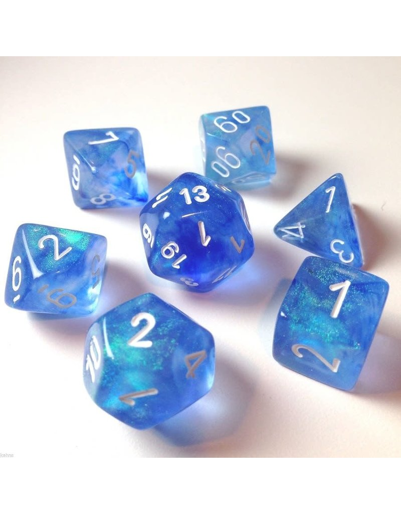 Chessex Borealis: 7Pc Sky Blue / White