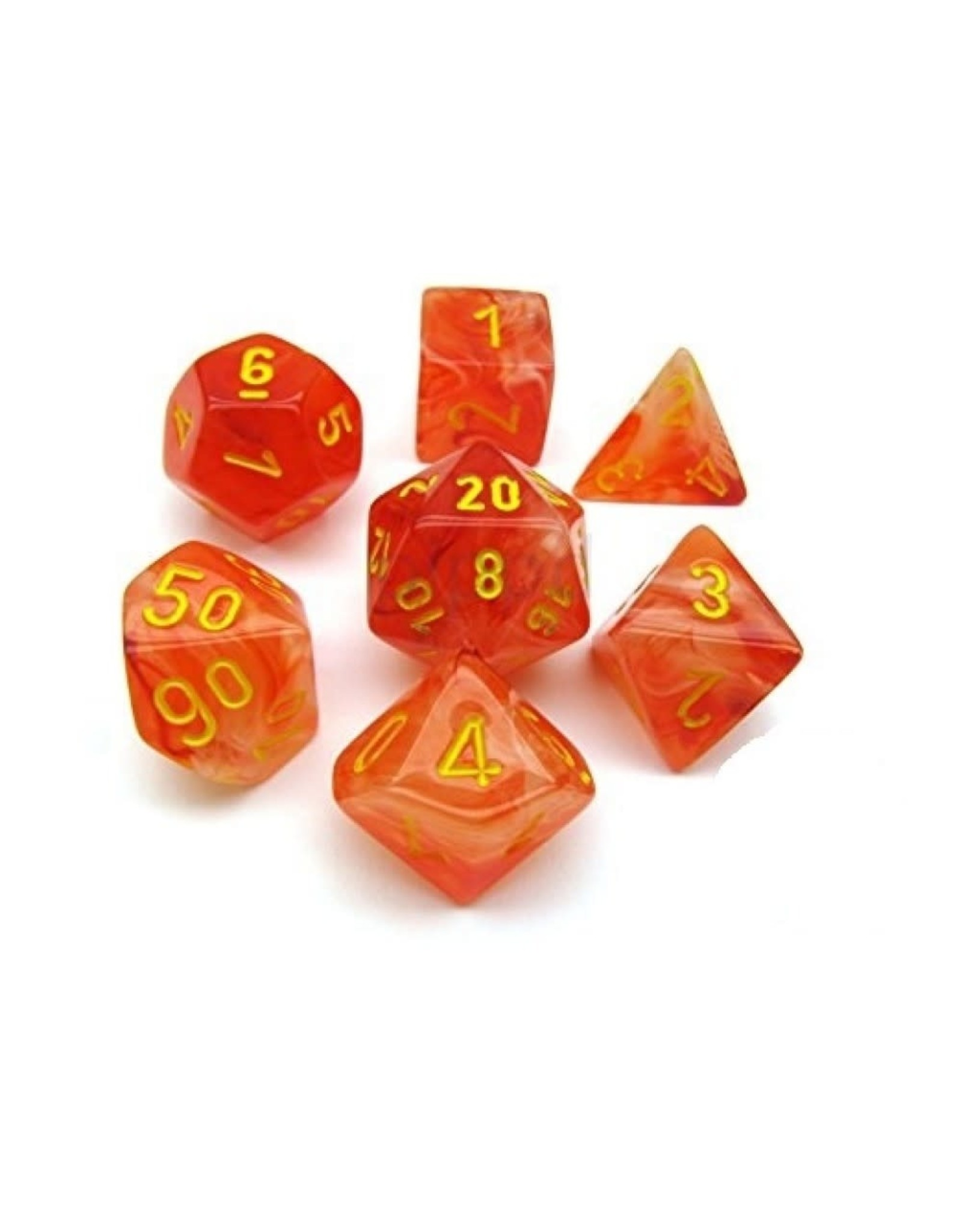 Chessex 7PC RPG DICE GHOSTLY GLOW ORANGE/YELLOW