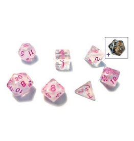 Sirius Dice 7PC TRANSLUCENT WHITE CLOUD W/ PINK INK
