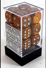 Chessex GLITTER: 12D6 16MM GOLD/SILVER