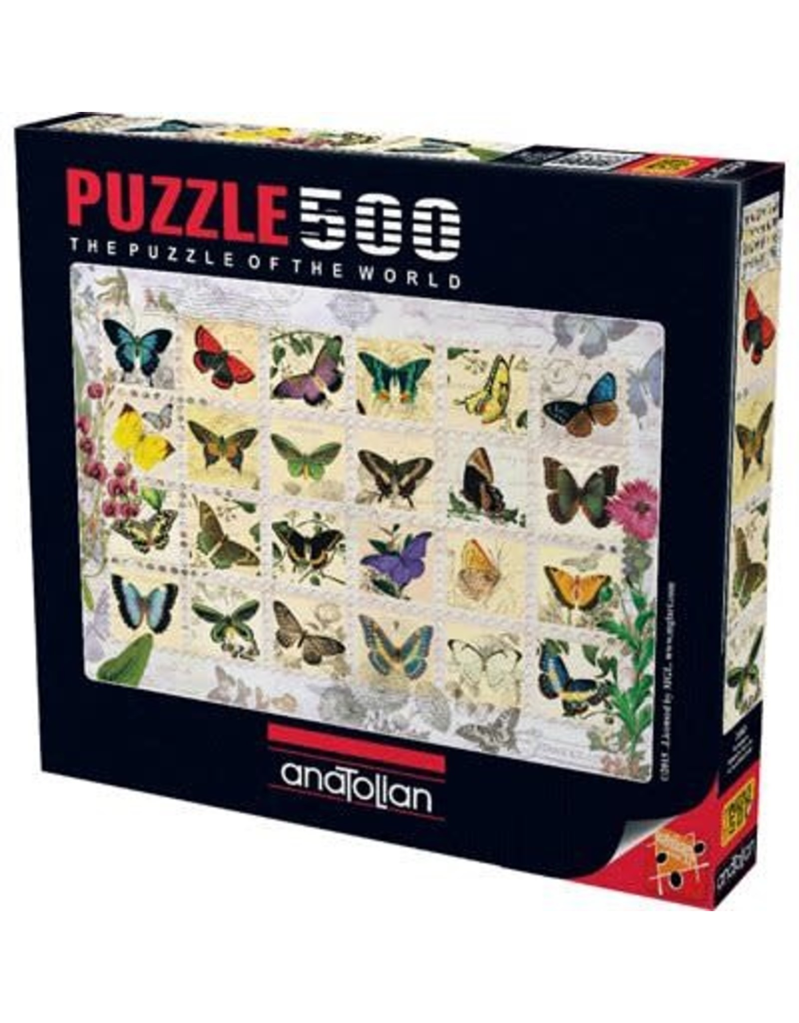 500PC PUZZLE - BUTTERFLY STAMPS